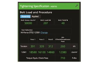 Boltright Pro Tension tightening specs