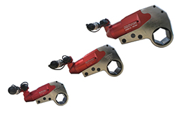 Hydraulic torque wrenches. Low profile female hexagon design