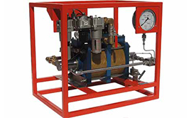 Hydrotest Pumps - air driven. High flow - twin double acting design.