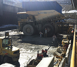 Maintenance of haul trucks at a copper mine in Chile