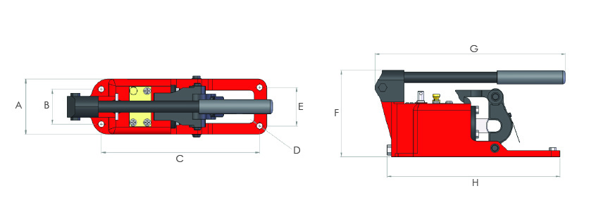 Self-contained hydraulic wire rope cutters
