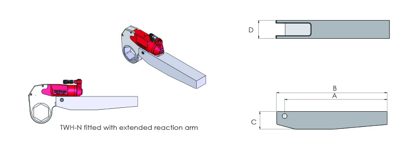 Square drive conversion kits and extended reaction arms.